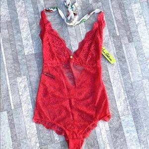 NWT Sam Edelman Lace Halter Bodysuit in Geranium